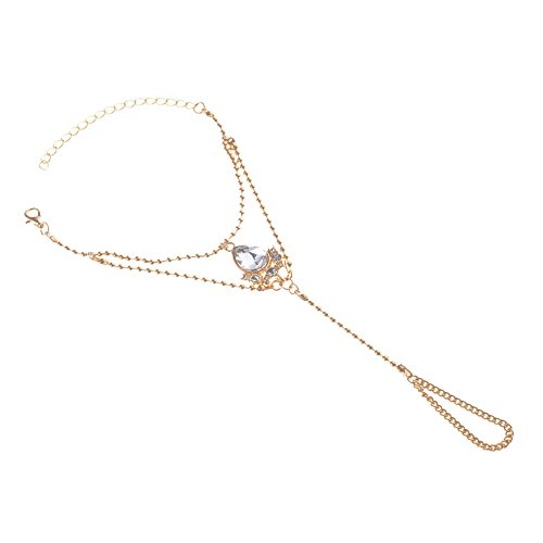 AnaZoz 1 Stück Damen Hochzeit Verlobung Köperkette Set Armband AAA Zirkonia Straß Wassertropfen Anhänger, Armreif Armbänder Körperschmuck Gold für Frauen (1 Badeanzug Stück Zurück)