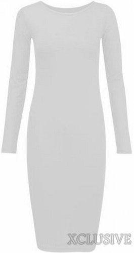 nouvelles femmes plus la taille Maillot manches longues midi Robe moulante stretch white