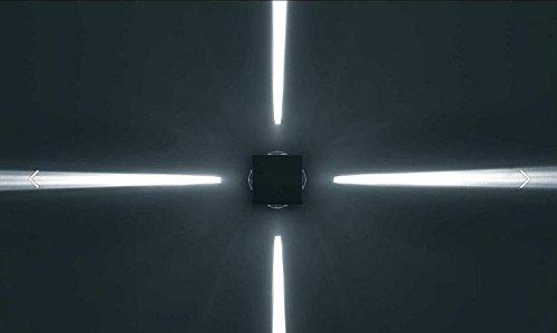 BeLight Lenso C41-Special Effects 4Beam Surround Wandleuchte Fassung (Lampe) für Gebäude Außen mit X-Form-Beam (Hohe Qualität, hergestellt nach EU Standards)-bis zu 100W und LED-kompatibel (Leuchtmittel nicht enthalten)-Wasser Proof IP65(grau) Beam Diffusor