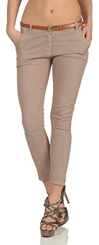 Malito Damen Chinohose mit Gürtel | Stretch Caprihose | schicke Freizeithose | Skinny - Slimfit - elegant 5388 (S, Fango)
