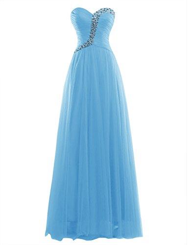 Dresstells Damen Herzform Tüll Abendkleider Bodenlang Promi-Kleider Mit Schnürung Blau