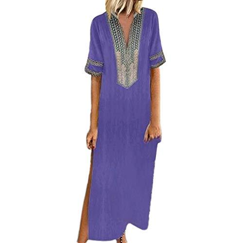 KPILP Femme Robes Printemps et été Femme Les Loisirs Manche Courte Impression Couture Jupe Longue Robe Femme Confortable en Vrac Récolte Robe Vintage