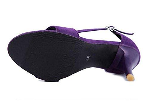 GLTER Frauen Open Toe Knöchelriemen Pumps Sommer Einfache High Heels können angepasst werden 33-43 Purple