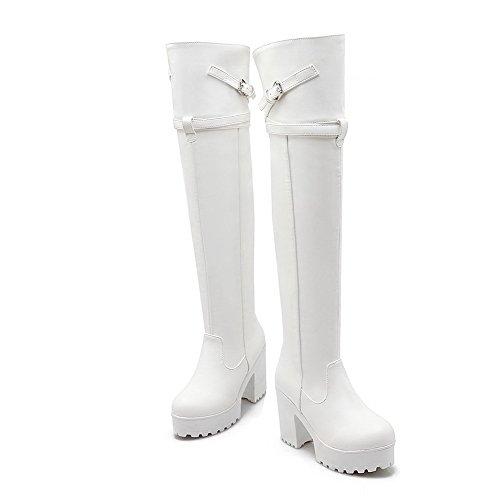 AgooLar Damen Ziehen auf Hoher Absatz PU Rein Hoch-Spitze Stiefel, Weiß, 37