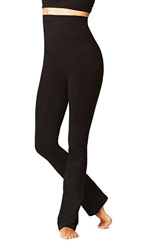 Da donna leggero controllo pancia vita alta pantaloni, Black, Extra Extra Extra Large (20) Reg Leg