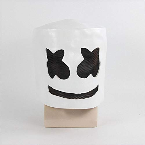CHENJJ Masken Horror Marshmallow Dj Mask Headset Ganze Person Lustiger for Halloween Teufel Helm Leistungsrequisiten Scary Scary - Cotton Candy Cafe