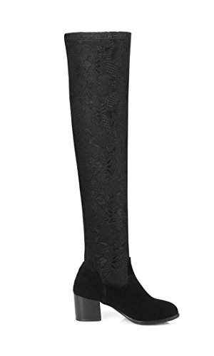 YE Damen Designer Stretch Overknee Stiefel Wildleder mit Blockabsatz Fell Elegant Winterschuhe Schwarz Schwarz