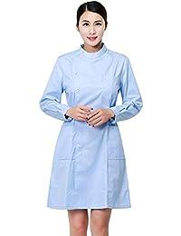 Bata de Laboratorio de Manga Larga con Cintura Ajustable para Mujer Uniforme Médico Enfermera Ropa Quirúrgica