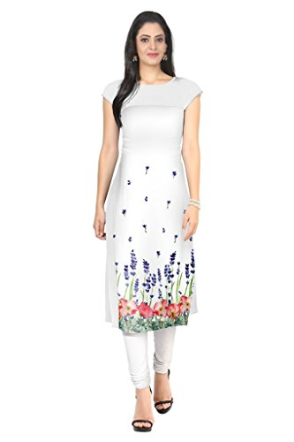 Ziyaa White Colour Boat Neck Cap Sleeve Faux Crepe Digital Print Kurti  available at amazon for Rs.412