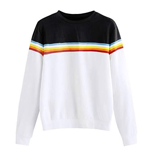 4413687d2fecb5 Damen Sweatshirt Einfarbig Yanhoo Frauen Pullover Lange Langarmshirt Lose  Oberteil Gemusterten Band.