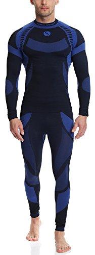 Sesto Senso Uomo Biancheria Funzionale Set Manica Lunga Camicia Lunghe Mutande Thermo Attivo Blu Scuro/Blu