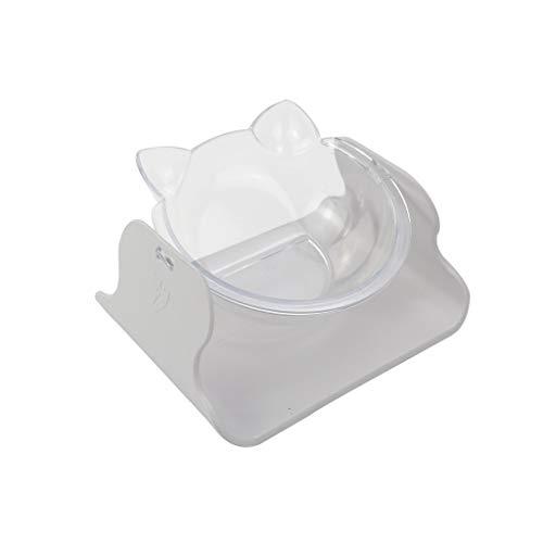TUDUZ Haustierschüsseln für Katzen und Hunde, Transparent Katzenohr Form Näpfe, Katzennapf - PC Diner/Trinkwasser, Pet Verstellbare Schüssel, Rutschfesten Füßen (Weiß)