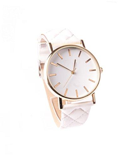 Weiß Gold Armbanduhr Damenuhr Uhr Vintage Lederarmbanduhr Kunstleder Schlicht