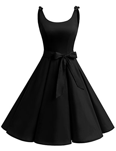 Kostüm Schwarzen Kleid Damen (Bbonlinedress 1950er Vintage Polka Dots Pinup Retro Rockabilly Kleid Cocktailkleider Black)