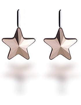 Ohrringe 925 Silber mit Swarovski Elements Stern Farbe Rosè Gold