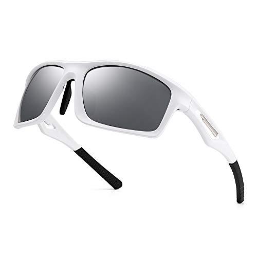 JIM HALO Herren- Polarisiert Sonnenbrille TR Tempel Sport Brille für Baseball Angeln Laufen Golf Radfahren Fahren(Weiß/Polarisierter Spiegel Silber)