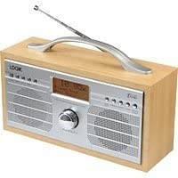 Logik L55DAB15 Portable DAB+/FM Clock Radio (Silver & Wood)