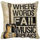 PUDA Where Words Fall Music Speaks Quote Throw Pillow Case Vintage Cushion Cover Guitar Pillowcase 20x20 Twin Sides .