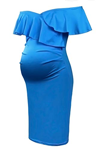 Molliya Damen Umstandskleid Schwangere Rüsche Aus Mutterschaft Gerafften Elegentes Kleid Knielang