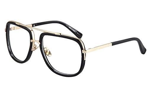 CQYYDD Mens Casual Sunglasses Markendesigner Big Square Men Driving Sonnenbrille Women Gradient Matte Blackschwarz mit Clearlens