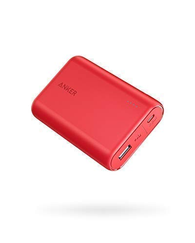 Anker PowerCore 10000mAh externer Akku, die kleinere und leichtere Powerbank, extra kompakt für iPhone XS Max/XR/XS/X / 8 / 8Plus / 7 / 6s / 6Plus, iPad, Samsung Galaxy und weitere Smartphones(Rot)