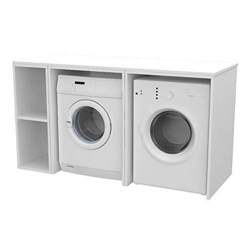 Ve.Ca. Mobile lavanderia Riga 175 cm in legno, copri lavatrice/asciugatrice, diversi colori, anche su misura, bagno (Bianco frassinato)