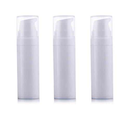 3PCS Blanco Vacío Desechable Portátil Mini Airless Bomba de Vacío Botella Jarras Bayoneta Crema Dispensador de Loción (15ml/0.5oz)