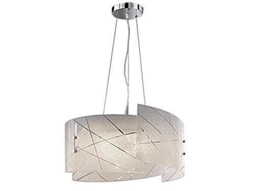 Exklusive LED Pendelleuchte mit satiniertem Lampenschirm aus Glas in weiß mit dezentem Streifendesign, Höhe 150cm, Schirm Ø50cm -