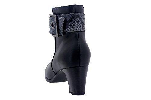 Scarpe donna comfort pelle Piesanto 7855 stivaletti casual comfort larghezza speciale Negro