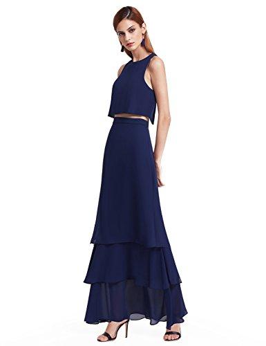 Ever Pretty Frauen Elegantes zweiteiliges ärmelloses geschichtetes Festkleid Partykleid...