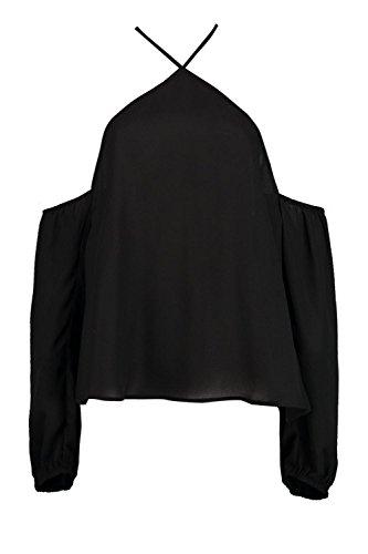 Noir Femmes April Top Tissé Noué Au Col À Épaules Dénudées Noir
