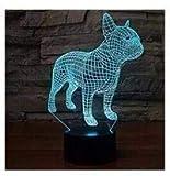 3D französische bulldogge hund Optische Illusions-Lampen, Tolle 7 Farbwechsel Acryl berühren Tabelle Schreibtisch-Nachtlicht mit USB-Kabel für Kinder Schlafzimmer Geburtstagsgeschenke Geschenk