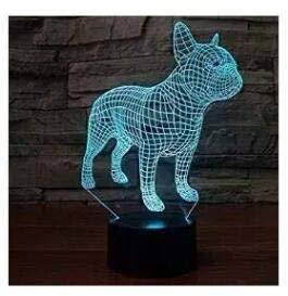 3D Française Bulldogge chien optique Illusions Lampes, superbe 7Changement de couleur acrylique toucher Tableau de bureau Veilleuse avec câble USB pour enfants Chambre Cadeaux d'anniversaire cadeau