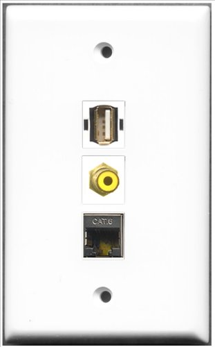 RiteAV-Cinch gelb/1Port USB A-A + 1Port geschirmt, Cat. 6Ethernet 1Port Wall Plate 6-port-wall Plate