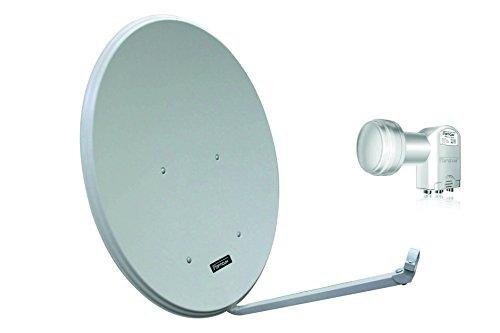 Opticum LH80 SAT Antenne Aluminium, Farbe: Lichtgrau mit Opticum Quad LNB LQP-04H
