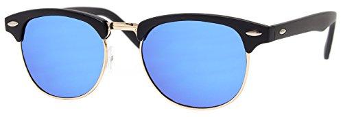 e Clubmaster Schwarz Blau Verspiegelte Gläser UV400 Festival Accessoires Damen Herren (60er Jahre Biker)