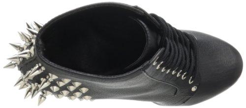 Pleaser FEARLESS-700-28 Damen Spike Stiefelette Blk Faux Leather/Blk Matte