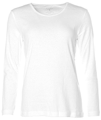 Kitaro Damen Basic Langarm-Shirt Weiß