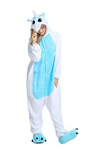 Tier Karton Kostüm Einhorn PyjamaTierkostüme Jumpsuit Erwachsene Schlafanzug Unisex Cosplay M(Höhe152-165CM) Hellblau Einhorn