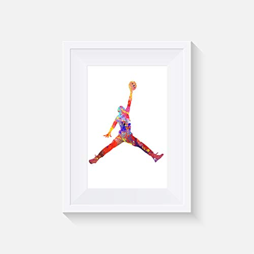 Jordan inspiriert Aquarell - Jumper Mann Poster - Alternative TV/Movie Prints in verschiedenen Größen (Rahmen nicht im Lieferumfang enthalten)