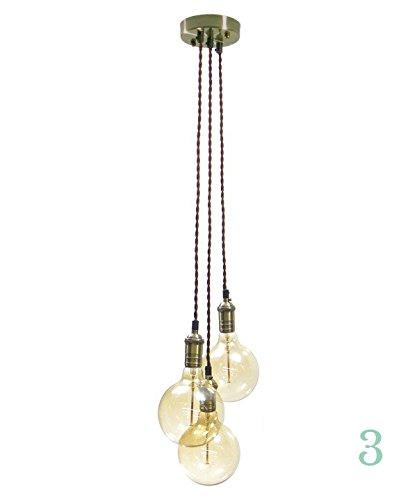 Antik Messing Anhänger Cluster 3braun Twisted Simple Anhänger Kronleuchter Hangout Beleuchtung (Lampe Light-anhänger 3 Bronze)
