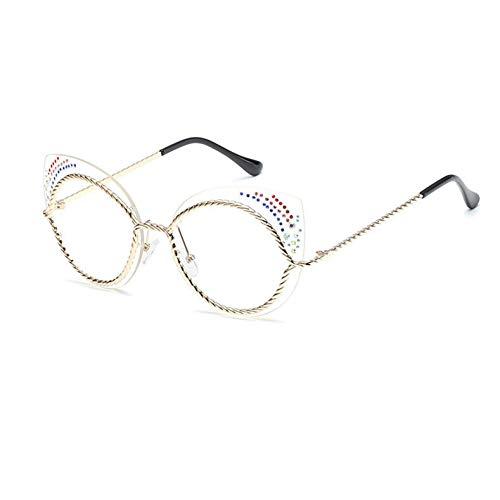 NECCT Damen cat Eye Sonnenbrille Kreis Diamant Rahmen Sonnenbrille für weibliche,A6