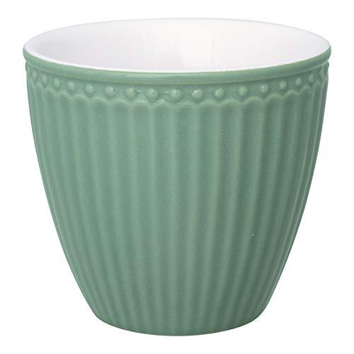 GreenGate - Latte Cup - Kaffeebecher - Becher - Alice - Keramik - Dusty Green/Rauch grün - 300 ml Green Latte Becher