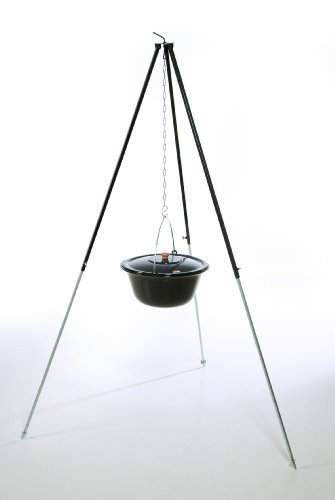 feuerzangenbowlen set acerto ungarischer Gulaschkessel (14 Liter) + Dreibein-Gestell (180cm)