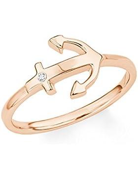 s.Oliver Damen-Ring So Pure Anker Silber rosévergoldet Zirkonia weiß