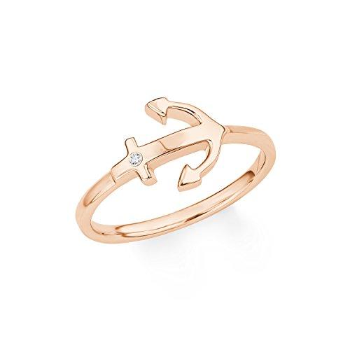 s.Oliver Damen-Ring So Pure Anker Silber rosévergoldet Zirkonia weiß (Silber-anker-ring)