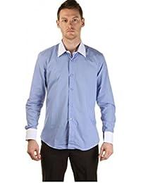 Chemise 2 couleurs bleue col et poignets blanc pour homme