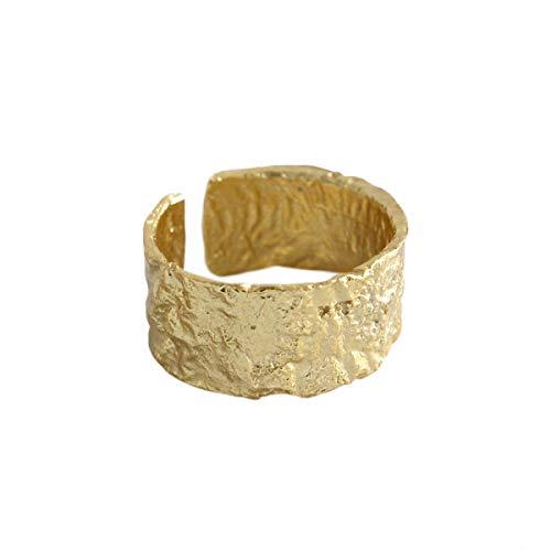 Lotus Fun S925 Sterling Silber Ring Unregelmäßige Oberfläche Gold- und Silberfolie Breiter Weiblicher Ring öffnen Ringe Handgemachter Einzigartiger Schmuck für Frauen und Mädchen (Gold) (Ringe Handgemachter Schmuck)