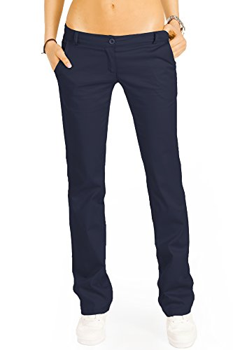 Bestyledberlin Pantaloni da donna, Chino bootcut j20k Blu