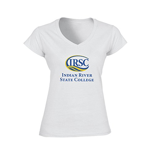 Indian River State College Logo Damen V-Neck T-Shirt Weiß